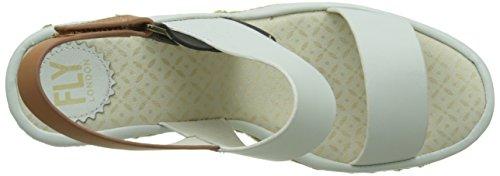 Ekan967 Tan Black Cassé FLY Off Sandales White London Bride 002 Blanc Arriere Femme U5wpCxwqO