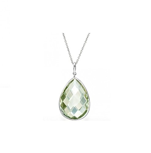 5.0 CTW Genuine Green Amethyst Tear Drop Pendant in Sterling Silver, 18''