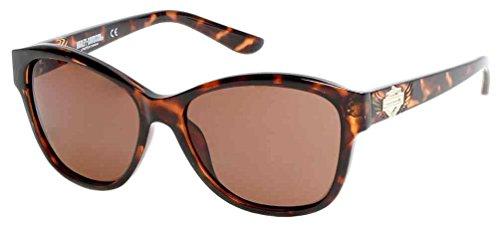 Harley-Davidson Women's Stud & Crystal Sunglasses, Tortoise Frame & Brown Lens