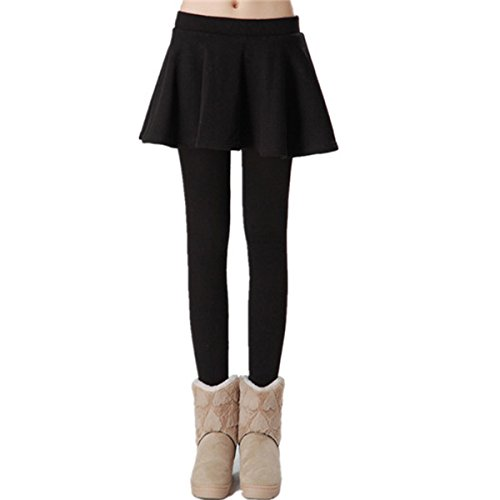 AOMEI Women Winter Fleece Warm Skirt Leggings Black Color Size M