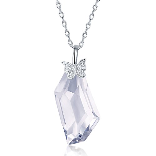 Pendant Necklace Gifts for Women White Clear Quartz Crystal Sterling Silver Dresses Necklace Fine Jewelry Butterfly (Butterfly Pendant Quartz)