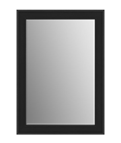 Black Beveled Glass - Delta Wall Mount 29 in. x 41 in. Medium (M3) Rectangular Framed Float Mounting Bathroom Mirror in Matte Black with TRUClarity Deluxe Glass