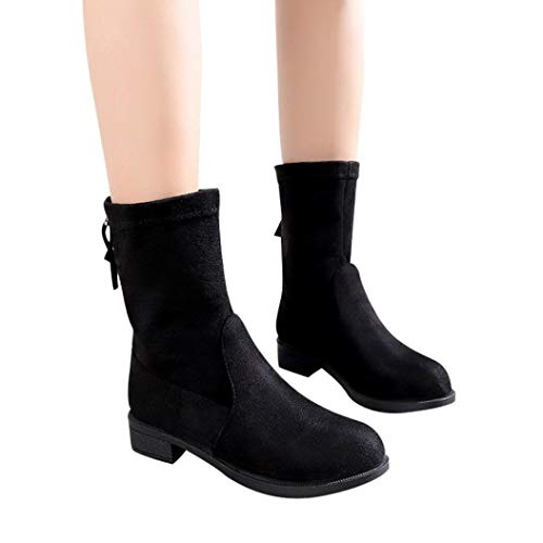 Gyoume Winter Boot Womens,Flat Wedge Heel Boots Shoes Warm Mid-Calf Boots Shoes Zip Snow (Embellished Snow Boots)