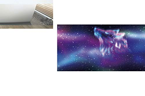 Decorative Privacy Window Film/Psychedelic Northern Starry Sky with Spirit of A Wolf Aurora Borealis Display/No-Glue Self Static Cling for Home Bedroom Bathroom Kitchen Office Decor Blue Purple]()