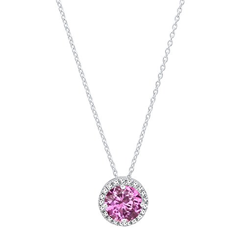 Necklace Sapphire Pink Diamond (DazzlingRock Collection 14K White Gold 5.5 MM Round Lab Created Pink Sapphire & White Diamond Ladies Halo Pendant)