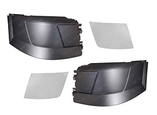 QSC Truck Bumper Corner No Foglight Hole L & R Chrome Trim Set for Volvo VNL
