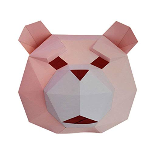 DIY 3D Paper Animal Head Mask Halloween Party Costume Cosplay Paper Craft kit -
