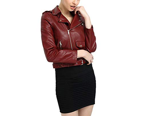 Pink Punk Soft Red Leather Motorcycle Leather Women Fashion S China Jacket Slim Biker Jacket Jacket Coat Faux PU qw1Itq