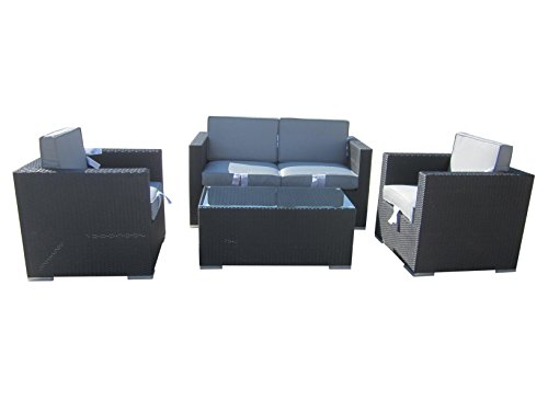 4-Piece-Cushioned-Outdoor-Rattan-Wicker-Love-Seat-2-chair-Coffee-Table-Patio-Furniture-Set-Black-with-Grey-Cushions-No-Assembly-Required