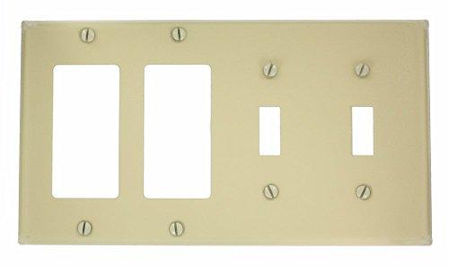 Leviton P2262-I 4-Gang 2-Toggle Decora/GFCI Device Combination Wallplate, Device Mount, Ivory (Ivory Plate Toggle)
