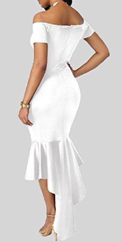 Prom Hem Shoulder Long Plain Irregular Off Womens Dress Sexy Jaycargogo White Bodycon 4FOqOa
