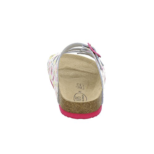 AFS-Schuhe 1133, Bequeme Mädchen Pantoletten, Echtes, Hochwertiges Leder Weiß