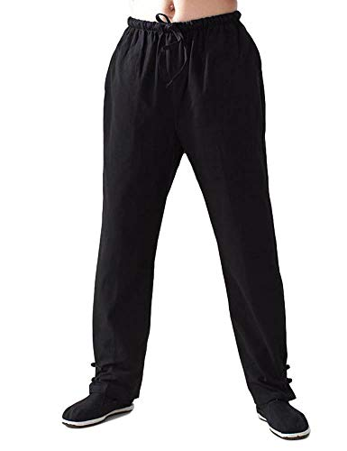 (Idopy Men`s Chinese Traditional Cotton Tai Chi Kung Fu Frog-Button Pants Trousers Black 170/5'7)