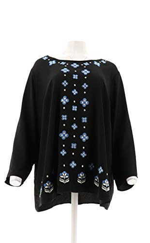 Bob Mackie Embroidered Woven Georgette Top Black M New A293821 Bob Mackie Embroidered Blouse