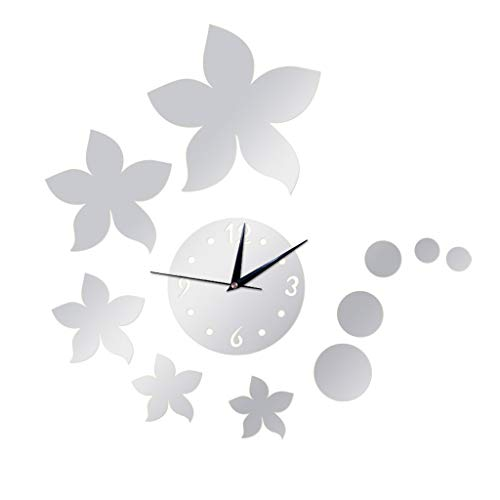 3D Bauhinia Mirror Wall Clock,Decor Sticker Mirror Frameless DIY Removable Wall Clock Silent Non-Ticking for Home Living Room Bedroom Office Decoration(Argent) (Argent Clock Wall)