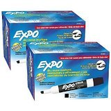 Expo Low Odor Chisel Tip Dry Erase Markers, Black, (80001) (2 Dozen)