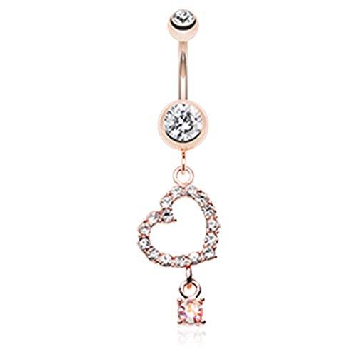 14 GA 316L Stainless Steel Rose Gold Shimmering Heart Gem Dangle Navel Belly Button Ring Davana Enterprises (Rose Gold Plated)