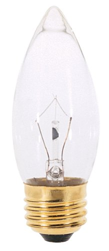 Satco A3631 130V Medium Base 25-Watt B11 Light Bulb, Clear