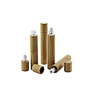 15ml Roller Bottles 5 Pack Bamboo Essential Oil Roll On Containers Travel Perfume Steel Ball Bottle Sample Aromatherapy Rollerball Container DIY Blends Supplies Tool & Accessories By ConStore