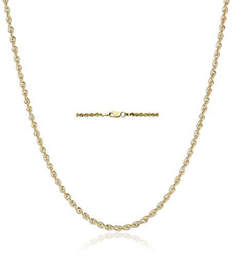 18K Gold 2.5MM Diamond Cut Rope Chain Necklace Unisex Sizes 16