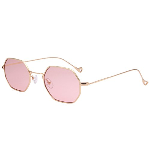 LianSan Classis Small Square Metal Frame Sunglasses LS7674(gold frame transparent pink - Sun Galss