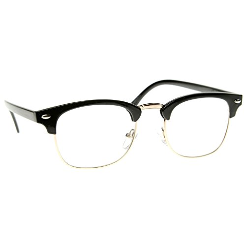 Vintage Inspired Classic Half Frame Horned Rim Sunglasses (Clear - Black Frame Half Glasses