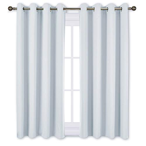 NICETOWN Greyish White Room Darkening Curtain Panels -
