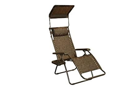 Bliss Hammocks Zero Gravity Chair With Canopy And Side Tray, Brown  Jacquard, 26u0026quot;