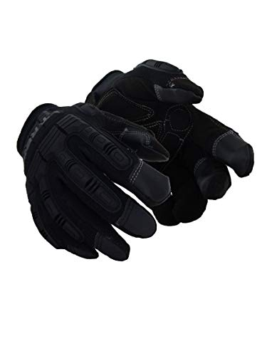 Magid Safety T-REX TRX606XS Impact Gloves | Cut Resistant Leather Impact Mechanics Gloves with a Foam Padded Palm - Cut Level 1, Abrasion Level 4, Black, XS (1 Pair)