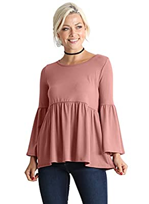 Long Ruffle Sleeve Babydoll Peplum Reg and Plus Size Tops for Women - Made in USA