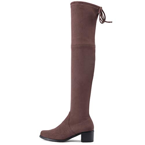cm Heel Zipper Jushee Womens 3 b Boots Brown Supuper Over Low The Knee Suede zwqtqX4nrd