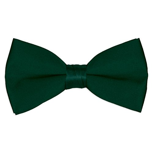 Mens Hunter Green Satin Bow Tie (Satin Hunter Green)