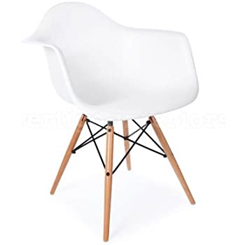 Lovely 1 X High Quality Eames Style Classic DAW Dowel Dining Lounge Arm Chair    White