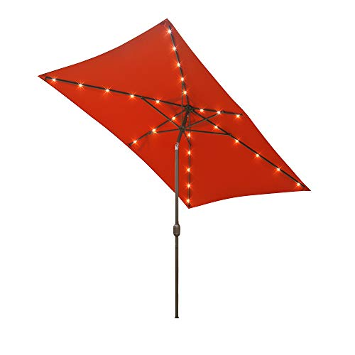 Aok Garden 9ft x 6ft Duluxe Tilting Solar LED Lighted Antique Brown Finish Market Outdoor Umbrella W Crank System and tilt Function with Heavy Duty 220g Polyester PA Coating Sunshade Orange