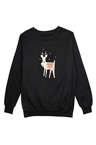 Rond De Sweatshirt Nimpansa Cerfs Imprimer Noël Noir Pull Tops Quotidiens Femmes Col OqExx8p