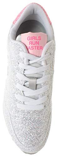 technique Nouveau Z19204 Sneakers Sun68 tissu Glitter Chaussures White wqFxxOp