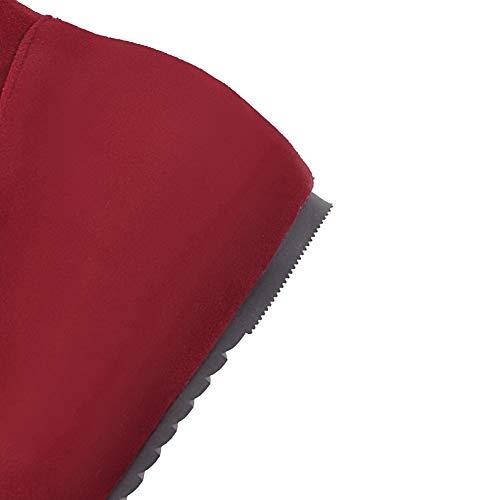 Tsfxh111876 Aalardom Bottes Genou Tire Talon Femme Rouge Bas À Dépolissement De FFrzwZq