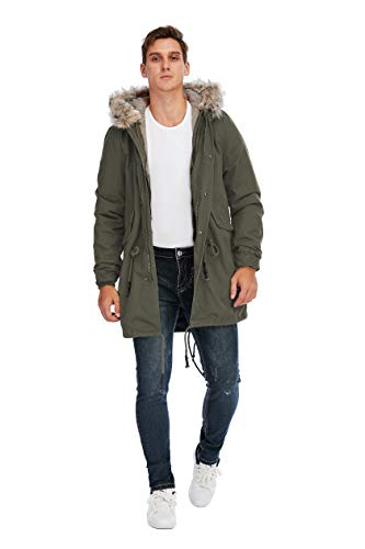 TIENFOOK Men Parka Jacket Winter Coat with Drawstring Waist Thicken Fur Hood Lined Warm Detachable Design Outwear Jacket (A-Army Green, Small)