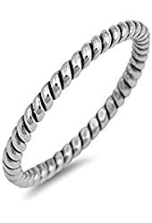 .925 Sterling Silver Twisted Stackable Ring
