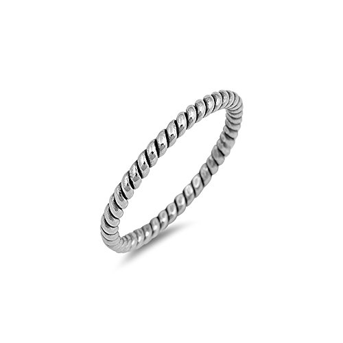 [.925 Sterling Silver Twisted Stackable Ring Oxidized Finish] (Twisted Stackable Sterling Silver Ring)