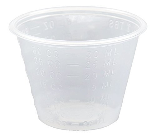 Healthstar Non-Sterile Graduated 1 ounce Clear Plastic Medicine Cups with Measurement Markings (100 Count)