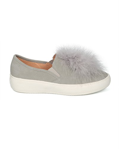 Sneaker Slip On Sneaker Da Donna Alrisco In Piumino - Hg69 By Betani Collection In Finta Pelle Scamosciata Grigia