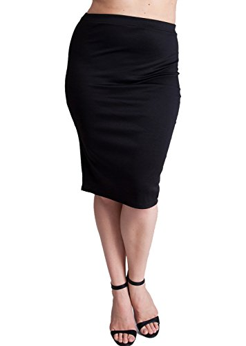 Woman Black Plus Size Banded Waistline Pencil Skirt