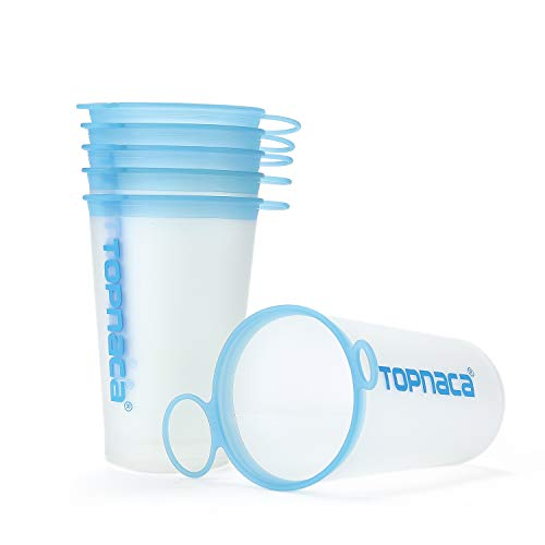 Topnaca Collapsible Soft Water Cup wtih TPU 200ml/6.8oz, BPA Free Foldable Reusable Portable for Cross Country Running Marathon Climbing Backpacking Hiking Camping Travel Outdoor Sports (Blue/White)