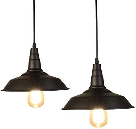 LynPon 2 Pack Pendant Light 10 Inch Barn Ceiling Light Black Industrial Hanging Light Fixture for Modern Farmhouse Kitchen Island Bar Lighting