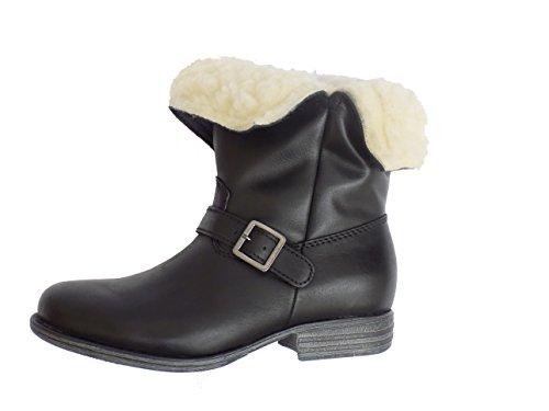 Eric Michaels Madison Womens Leather Wool Lined Waterproof Boots (38 EU/7.5-8 US, Black) -