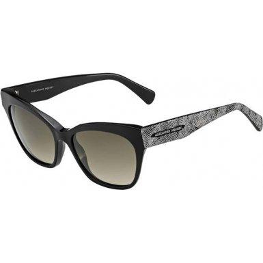 Alexander McQueen AMQ4261-S-OFQ-HA-55 Ladies AMQ 4261-S OFQ HA Black Silver - Alexander Cheap Mcqueen