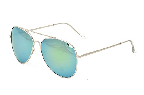 Colorful Reflective Lens Aviator Top Gun Pilot Unisex Sunglasses in Metal - One Hut Free Sunglass Buy Get One