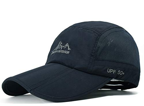 Quick Dry Travel Hats UPF50+ Cooling Portable Sun Hats for Sports Golf Running Fishing Outdoor Research with Foldable Long Large Bill, A-dark Blue, M-L-XL ()