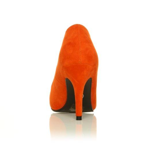 PEARL Orange Faux Suede Stiletto High Heel Classic Court Shoes owqWaR